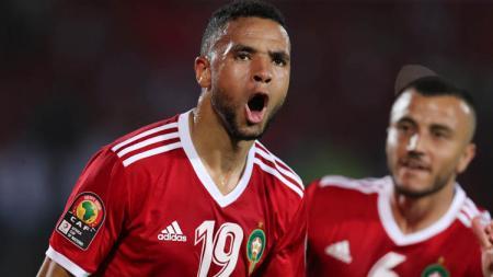 Youssef En-Nesyri saat merayakan gol pada laga Maroko vs Pantai Gading di Piala Afrika, Sabtu (29/06/19). - INDOSPORT