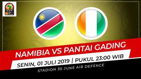 Pertandingan Namibia vs Pantai Gading. Grafis: Indosport.com - INDOSPORT