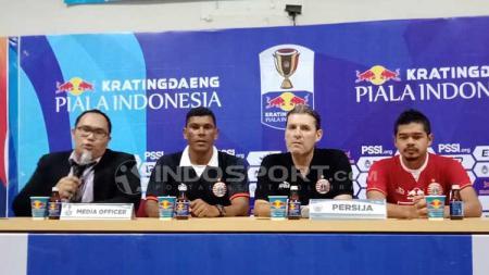 Konferensi pers Persija Jakarta vs Borneo FC pada Semifinal Leg 1 Piala Indonesia 2019 di Stadion Wibawa Mukti, Cikarang, Jawa Barat. - INDOSPORT
