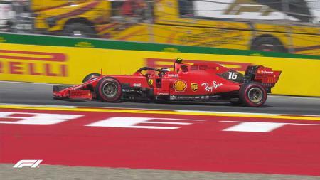 Pembalap Ferrari, Charles Leclerc, jadi yang tercepat pada sesi latihan bebas ketiga di GP Inggris 2019 - INDOSPORT