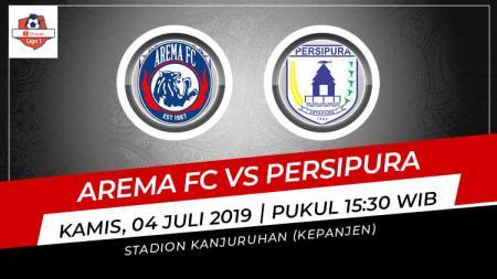 Pertandingan Arema FC vs Persipura Jayapura. Grafis: Indosport.com - INDOSPORT
