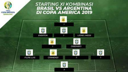 Starting XI Kombinasi Brasil vs Argentina di Copa America 2019. - INDOSPORT