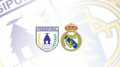 Indosport - Logo Persipura Jayapura dan logo Real Madrid