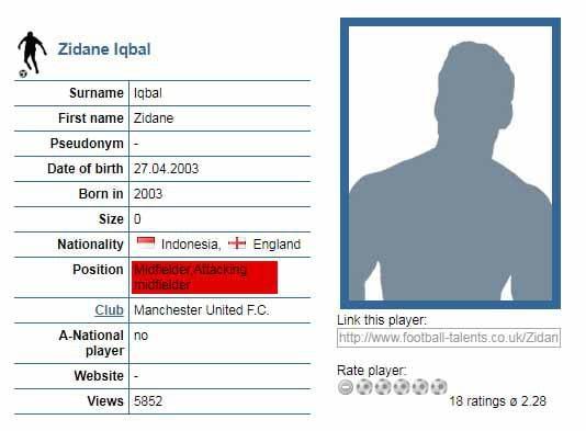 Iqbal Zidane Copyright: football-talents.co.uk