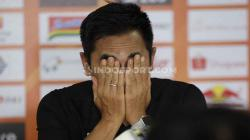 Pelatih PSS Seto Nurdiyantoro dalam jumpa pers jelang laga melawan Persija.