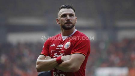 Aksi selebrasi Marko Simic ke gawang PSS Sleman dalam pertandingan Liga 1. - INDOSPORT