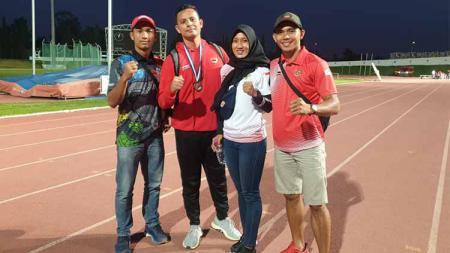 Atlet NPC Sumut peraih medali di kejuaraan di Tunisia, Eko Syahputra (kiri), Alan Sastra Ginting (dua kiri), Putri Aulia (dua kanan) dan Nur Very Pradana (kanan). - INDOSPORT