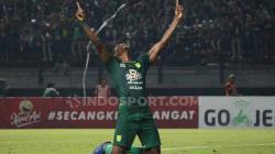 Aksi selebrasi Amido Balde melakukan selebrasi usai cetak gol ke gawang Persib Bandung.