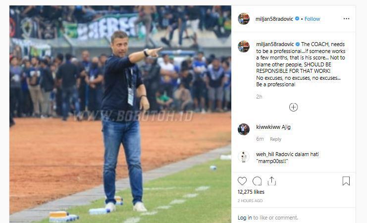 Unggahan Miljan Radovic membuat netizen berkomentar soal Persib Bandung. Copyright: Instagram @miljan58radovic