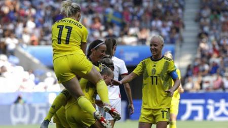 Swedia sukses meraih juara ketiga Piala Dunia Wanita 2019 usai menaklukkan Inggris, Minggu (07/07/19) - INDOSPORT