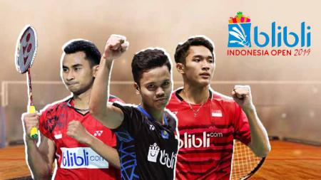 Anthony Ginting, Jonatan Christie, Tommy Sugiarto dan logo Indonesia Open 2019 - INDOSPORT