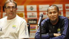 Indosport - Pelatih dan kapten Persib Bandung, Robert Rene Alberts dan Kapten Supardi.