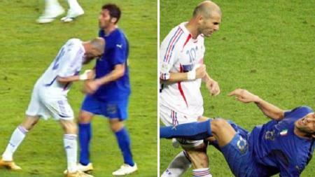 Zinedine Zidane 'menanduk' Marco Materazzi saat final Piala Dunia 2006. - INDOSPORT