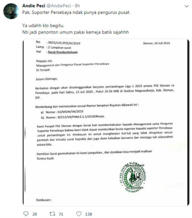 Komentar Andie Peci usai Bonek diimbau tak datang ke Sleman jelang PSS vs Persebaya di Liga 1 2019. Copyright: Twitter/@AndiePeci