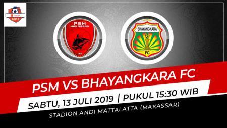 Pertandingan PSM Makassar vs Bhayangkara FC. Grafis: Indosport.com - INDOSPORT