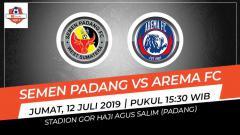 Indosport - Pertandingan Semen Padang vs Arema FC. Grafis: Indosport.com
