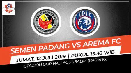 Pertandingan Semen Padang vs Arema FC. Grafis: Indosport.com - INDOSPORT