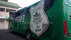 Indosport - Bus PSMS Medan. (Aldi Aulia Anwar/INDOSPORT)