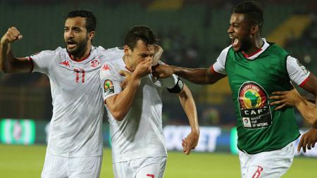 Selebrasi kemenangan Tunisia atas Madagaskar, Gehad Hamdy/picture alliance via Getty Images - INDOSPORT