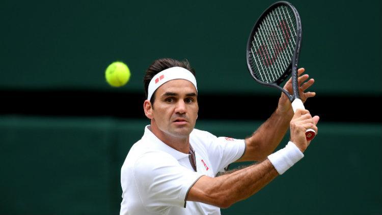 Roger Federer di final Wimbledon 2019 melawan Novak Djokovic. Copyright: Matthias Hangst/Getty Images