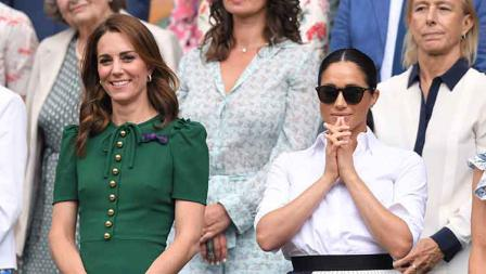 Anggota keluarga kerajaan Inggris, Kate Middleton dan Meghan Markle di final Wimbledon 2019 antara Serena Williams vs Simona Halep.