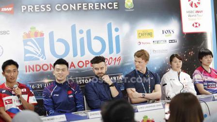 Jumpa pers top atlet luar negeri jelang Indonesia Open 2019 di Media Center Istora Senayan, Senin (15/07/19). Foto: Herry Ibrahim/INDOSPORT