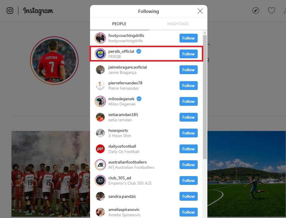 Steven Lustica mengikuti akun Persib Bandung di media sosial Instagram Copyright: Instagram/@stevenlustica