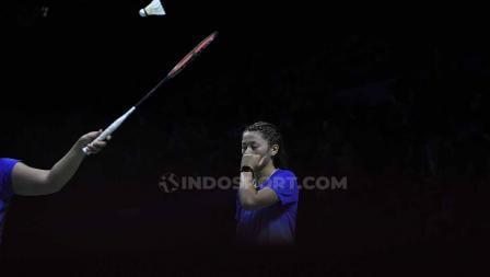 Ekspresi lesu Gronya Somerville/Setyana dikalahkan pasangan Indonesia Open 2019. Foto Herry Ibrahim/INDOSPORT