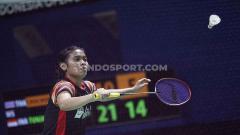 Indosport - Tunggal putri Indonesia, Gregoria Mariska menang atas tunggal Thailand, Pornpawee ChoChuwong dengan skor 21-10 dan 21-8 pada babak pertama Indonesia Open 2019 di Istora Senayan, Selasa (16/07/19).