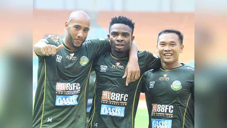 Selebrasi pemain Tira-Persikabo usai mencetak ke gawang Persija Jakarta. Foto: Instagram@officialpersikabo Copyright: Instagram@officialpersikabo