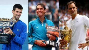 (ki-ka) Novak Djokovic, Rafael Nadal, dan Roger Federer merupakan tiga petenis pria populer masa kini. - INDOSPORT