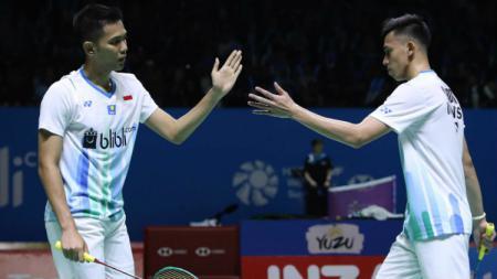 Fajar Alfian/Muhammad Rian Ardianto siap hadapi penghancur Kevin/Marcus di perempatfinal Kejuaraan Dunia Bulu Tangkis 2019. - INDOSPORT