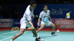 Indosport - Fajar Alfian/M.Rian Ardianto berhasil lolos ke babak kedua China Open 2019 usai mengalahkan pasangan Thailand, Bodin Isara/Maneepong Jongjit.