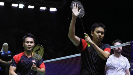 Hendra Setiawan/Mohammad Ahsan di babak pertama Indonesia Open 2019. - INDOSPORT