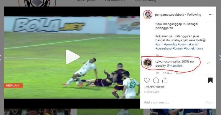 Comvalius, bintang Arema FC, mengomentari soal pemain Persebaya yang ditekel di kotak penalti. Copyright: https://www.instagram.com/pengamatsepakbola/
