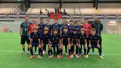 Indosport - Welberlieskott de Halim Jardim (no.4) dan tim Ordin FC asal Brasil di ajang Gothia Cup 2019