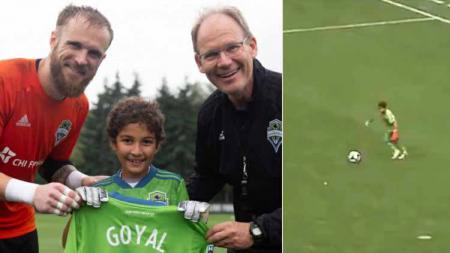 Bocah 8 tahun, Bheem Goyal, dimainkan Seattle Sounders di laga uji coba melawan Borussia Dprtmund, Kamis (18-07-19). Foto: foxsportsasia.com - INDOSPORT