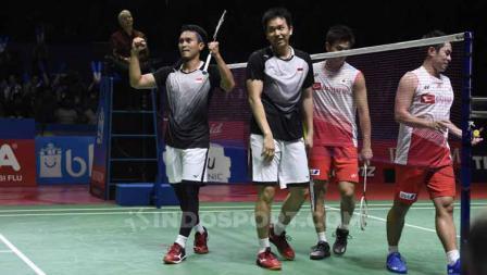 Ganda putra wakil Indonesia, Mohammad Ahsan/Hendra Setiawan berhasil lolos ke final usai tumbangkan pasangan Jepang di Indonesia Open 2019.