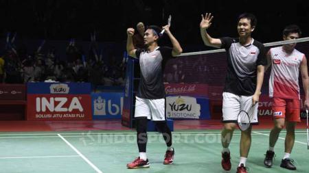 Ganda putra antara wakil Indonesia, Mohammad Ahsan/Hendra Setiawan berhasil lolos ke semifinal usai tumbangkan pasangan Jepang di Indonesia Open 2019. - INDOSPORT