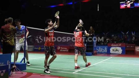 Kevin Sanjaya & Marcus Gideon berhasil melaju ke babak final Indonesia Open 2019 usai menang dengan skor 21-9, 21-13.
