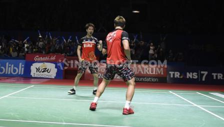 Ekspresi kemenangan Minions saat memastikan tiket final Indonesia Open 2019.