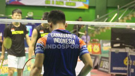 Rian Cannavaro saat turun di cabor bulutangkis ajang ASEAN Schools Games 2019. - INDOSPORT