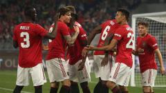 Indosport - Mason Greenwood merayakan golnya dengan rekan-rekan setimnya saat pertandingan ICC 2019 antara Manchester United vs Inter Milan, Sabtu (20/07/19) malam WIB.