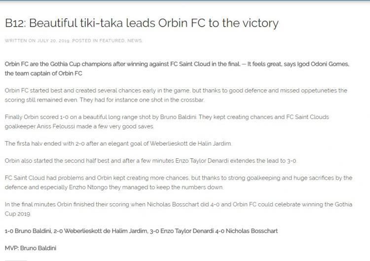 Permainan Cantik ala Tiki-Taka Welber bersama Ordin FC mendapat pujian Copyright: gothiacup.se