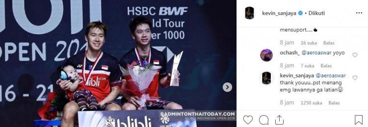 Komentar Kevin Sanjaya terhadap Ahsan/Hendra. Copyright: Instagram/Kevin Sanjaya