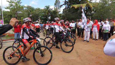 Kegiatan Kemenpora Gowes Nusantara 2019 kali ini memyambangi Merauke, Papua. - INDOSPORT