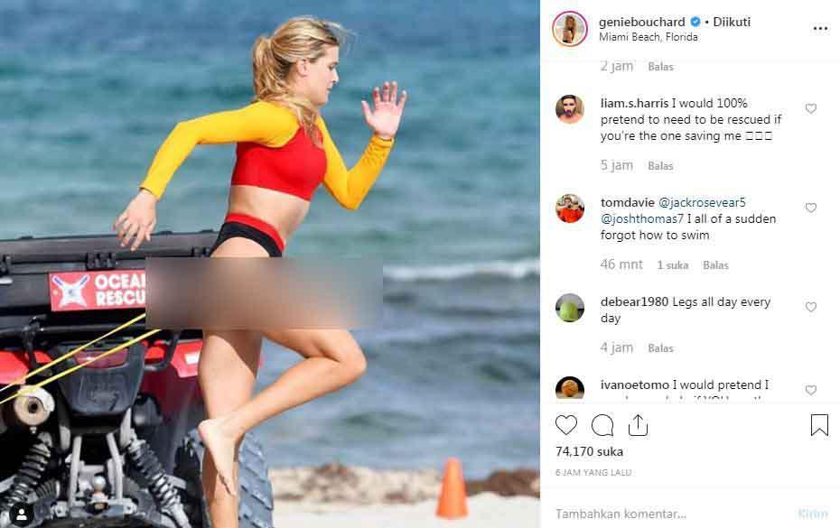 Petenis Genie Bouchard pamer foto saat beraksi ala pemeran Baywatch. Copyright: Instagram/Genie Bouchard