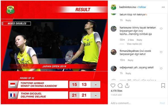 PBSI didesak untuk membubarkan ganda campuran Tontowi Ahmad/Winny Oktaviani Kandow usai tumbang di babak pertama Japan Open 2019 Copyright: Instagram/Badminton.Ina