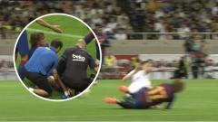 Indosport - Tekel Horror Jorginho ke Antoine Griezmann di Laga Barcelona vs Chelsea.
