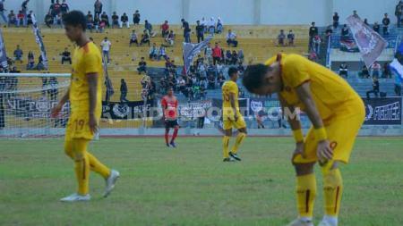 PSPS Pekanbaru secara mengejutkan berhasil menekuk Sriwijaya FC 2-1 di Stadion Kaharuddin Nasution, Selasa (23/7/19). Foto: Muhammad Effendi/INDOSPORT - INDOSPORT